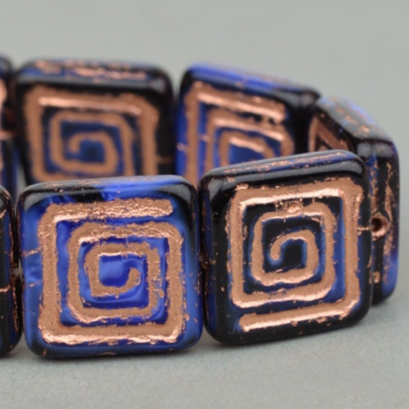 s49140 Czech Glass -  Greek Key Square - Blue Jet/Copper Wash (10)