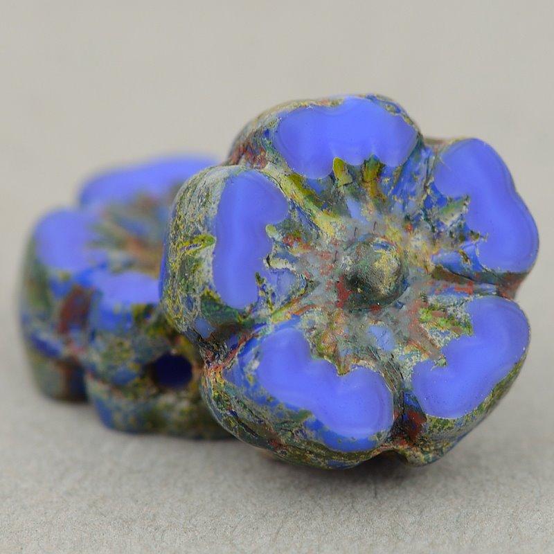 s49187 Czech Glass - 9.5 mm Hibiscus Flower - Sapphire Silk Picasso (12)