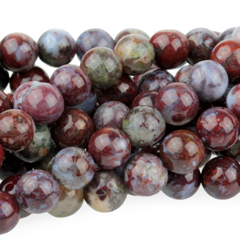 s49207 Stone Beads - 8 mm Round - Red Lightning Agate (strand)