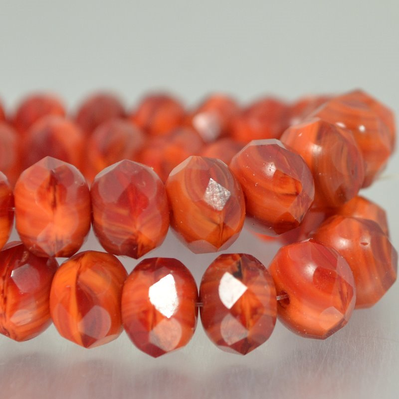 s49485 Czech Glass - 9 x 6 mm Faceted Donut Rondelle - Fire Swirl (25)
