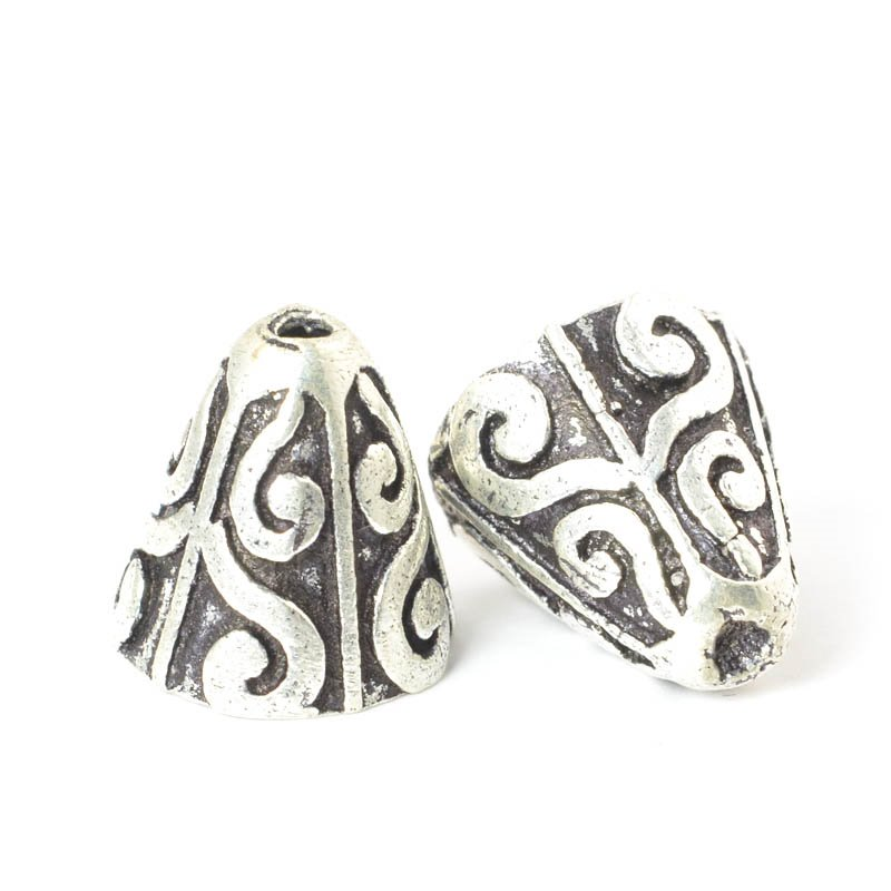 s50050 Finding - Cone - Curved Horns - Antiqued Silver (strand)