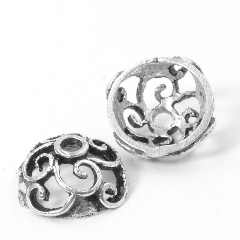 s50054 Finding - Bead Cap - Swirly Loops - Antiqued Silver (strand)