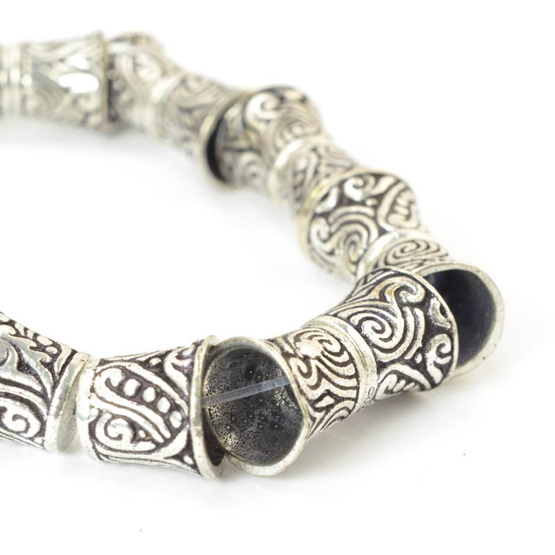 s50055 Finding - Cone - Decorated Fez - Antiqued Silver (strand)