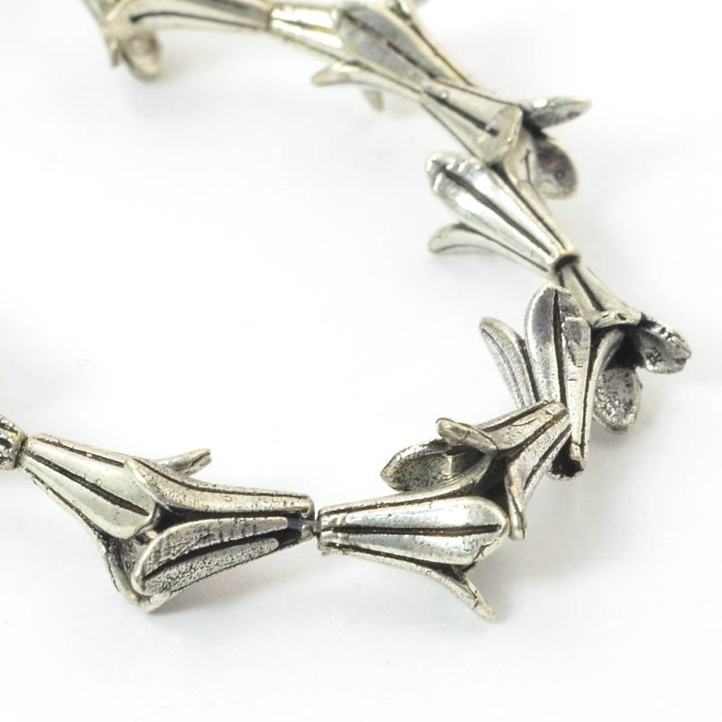 s50067 Finding - Cone - Flared Lily - Antiqued Silver (strand)