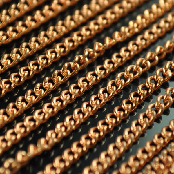 s50154 Metal Chain - 2.2 mm Twisted Curb Chain - Copper (1 foot)