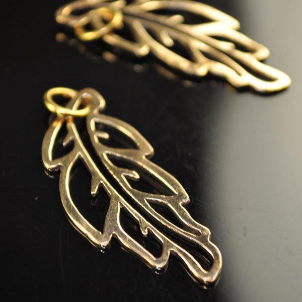 s50167 Metal Charm/Pendant - Open Frame Leaf Pendant - Bronze