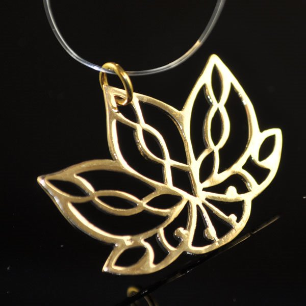 s50170 Metal Charm/Pendant - Open Frame Lotus Pendant - Bronze
