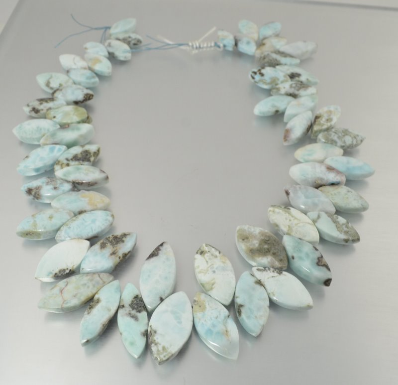 s50262 Stone Beads -  Graduated Set - Pointed Oval - Larimar
