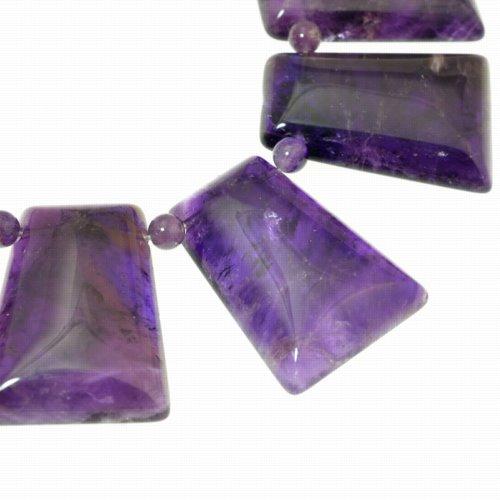 s50300 Stone Beads -  Trapezoid / Keystone - Dark Amethyst (strand)