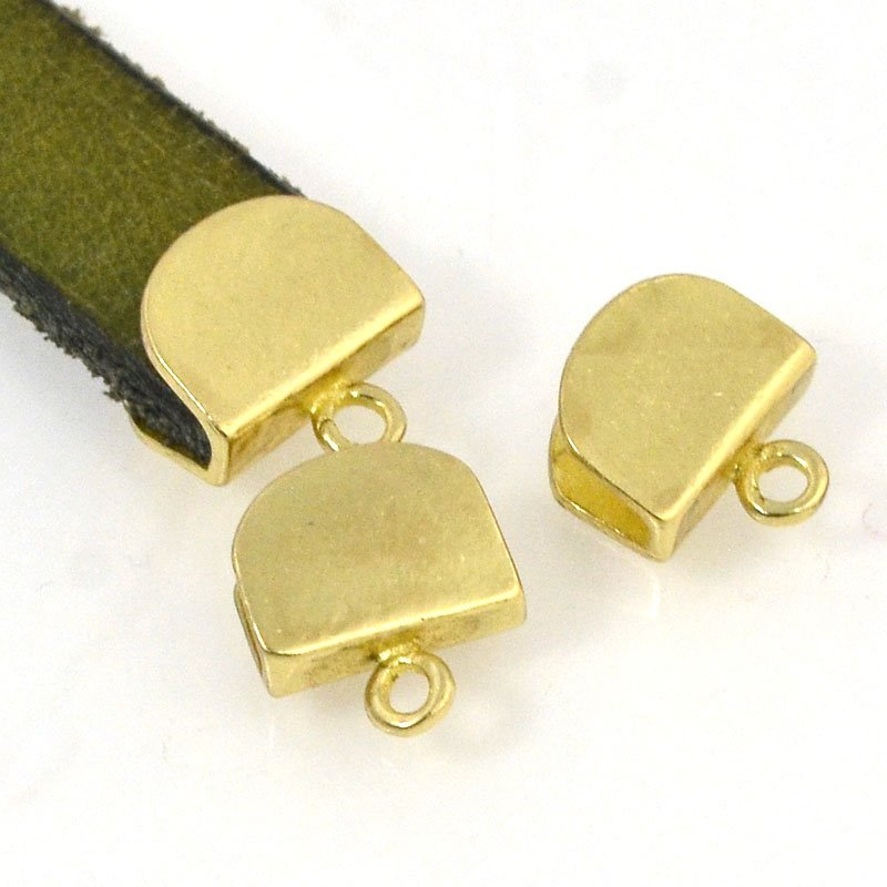 s50387 Findings - 10 mm Flat Leather -  Leather End Cap - Bright Brass (Pair)
