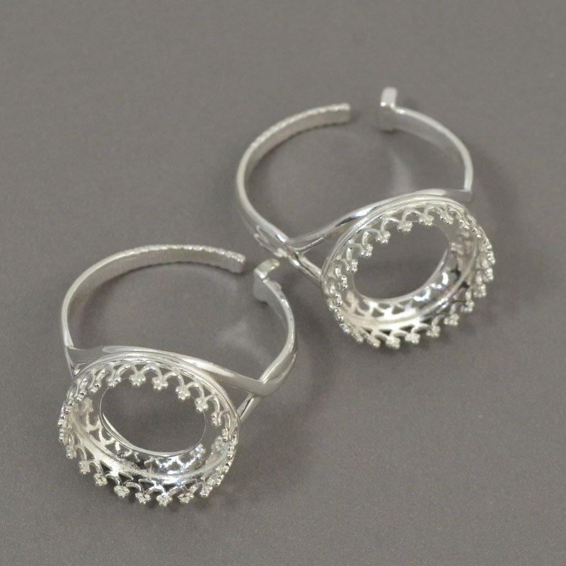 s50388 Finger Rings - ID 14 mm Crown Bezel - Sterling Silver