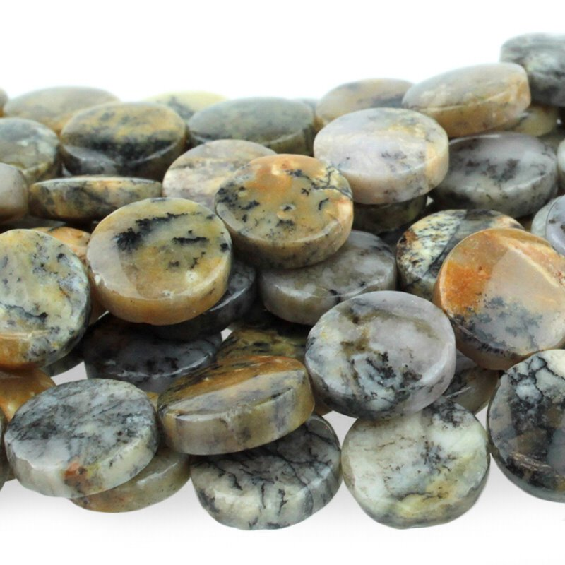 s50394 Stone Beads - 12 mm Coin - Black Moss Opal (strand)