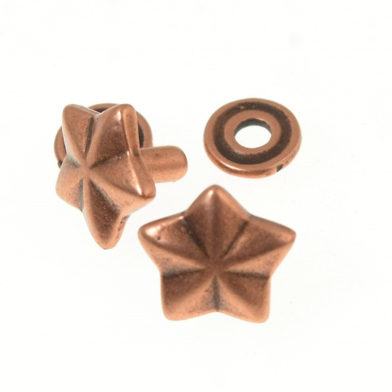 s50640 Riveting Supplies -  General Star Stud Rivet and Base - Antiqued Copper (5)