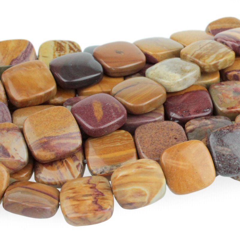 s51073 Stone Beads - 12 mm Square - Sunset Mookaite (strand)