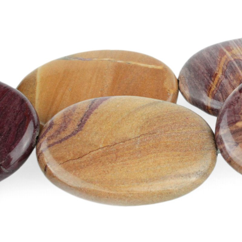 s51076 Stone Beads - 30 x 40 mm Oval - Sunset Mookaite