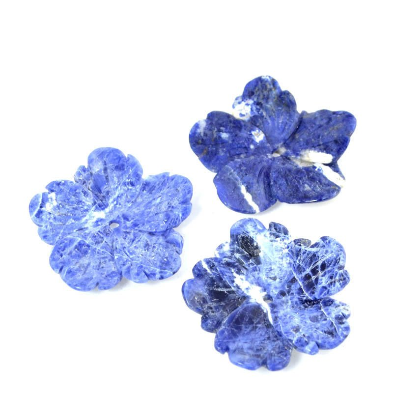 s51157 Stone - 40 mm Carved Flower - Sodalite