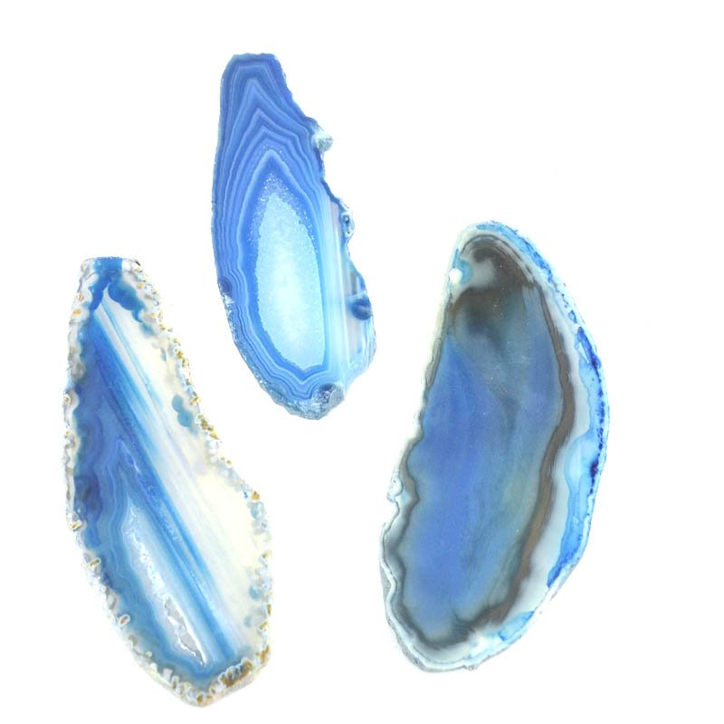 s51162 Stone - Polished Freeform Agate Slice - Ocean Blue