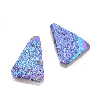s53573 Stone Pendant - Freeform Druzy Pendant - Electric Midnight