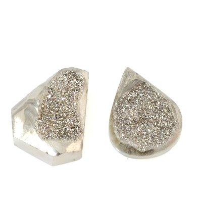 s53577 Stone Pendant - Freeform Druzy Pendant - Silver Knight