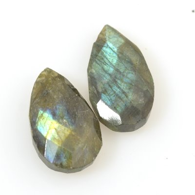 s53582 Stone Pendant - Medium Faceted Long Pear Drop - Labradorite