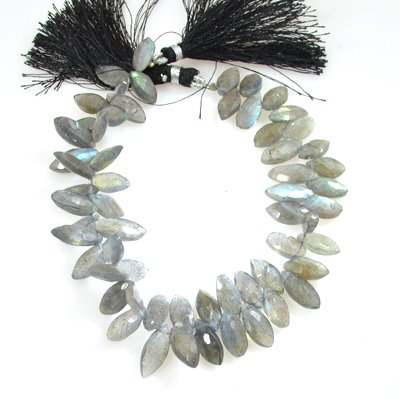 s53584 Stone Beads - Faceted Pointed Ovals - Labradorite (Strand)