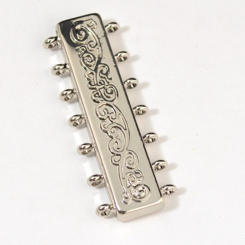 s53609 Findings - Clasp - Magnetic - 7 Strand Deco - Rhodium
