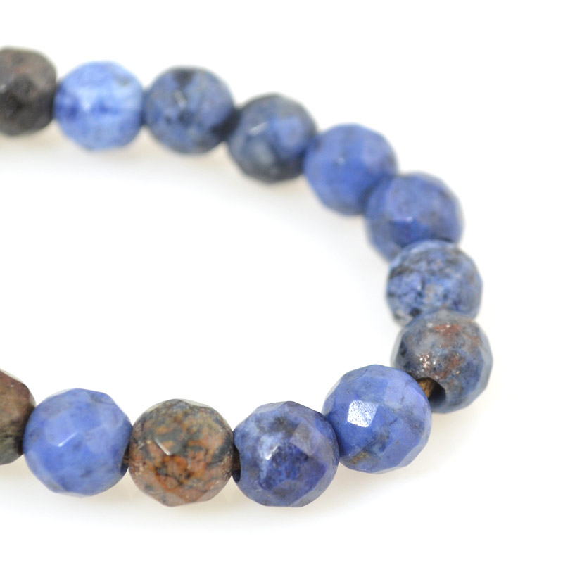 s54243 Stone Beads - 8 mm Big Hole Faceted Round - Sunset Dumortierite (strand)