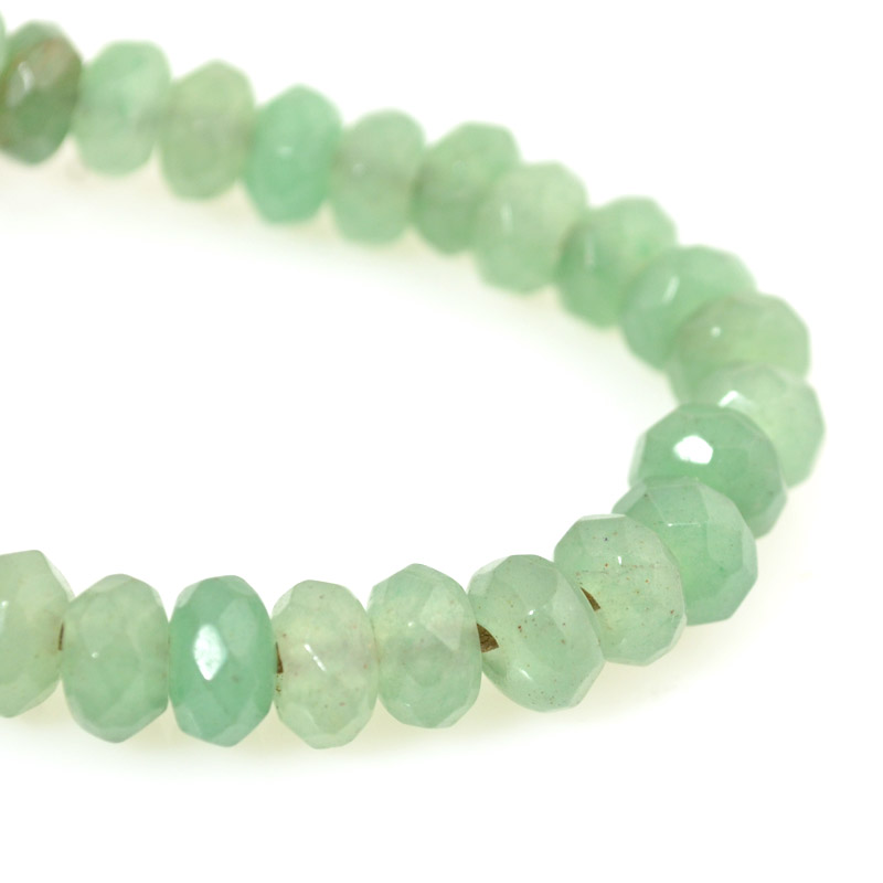 s54244 Stone Beads - 8 mm Big Hole Faceted Wheel - Green Aventurine (strand)