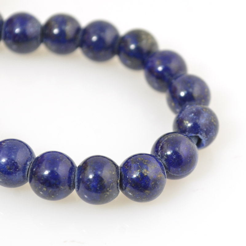 s54247 Stone Beads - 8 mm Big Hole Round - Lapis Lazuli (strand)