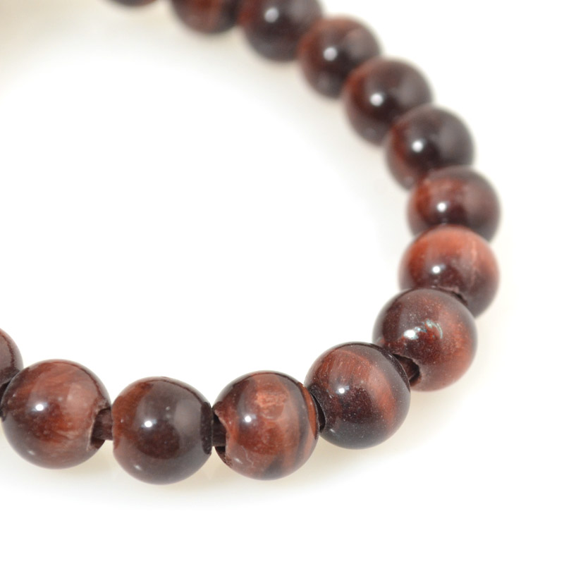 s54248 Stone Beads - 8 mm Big Hole Round - Red Tiger Eye (strand)