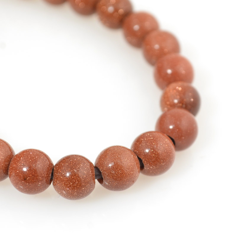 s54251 Stone Beads - 8 mm Big Hole Round - Goldstone (strand)