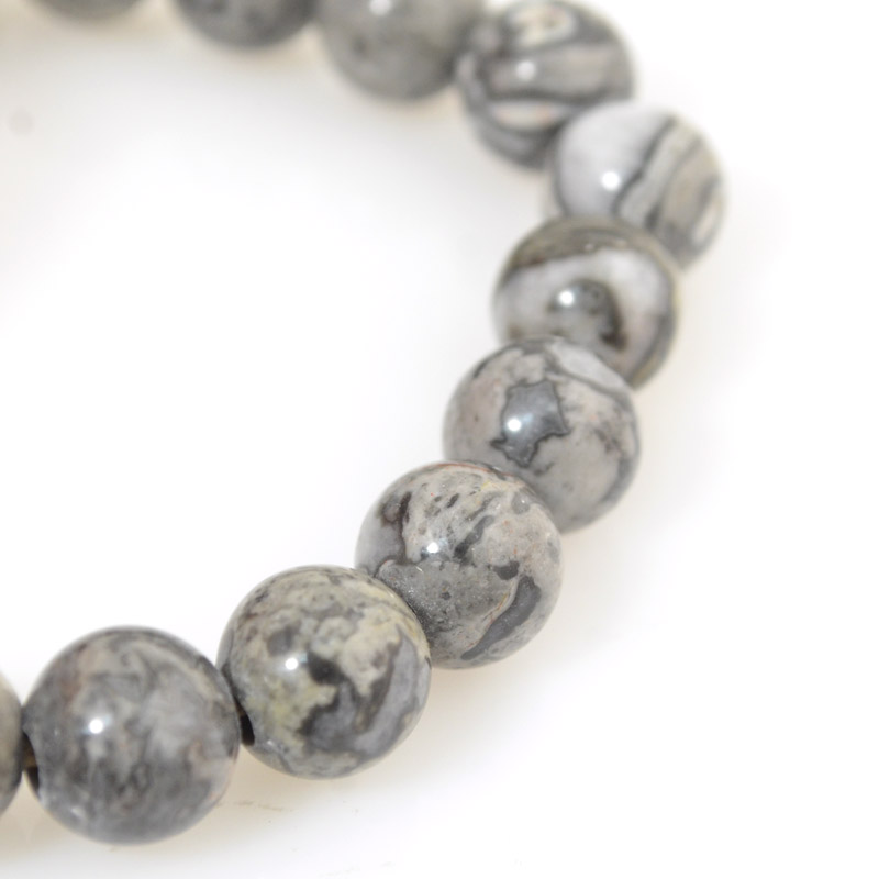 s54252 Stone Beads - 10 mm Big Hole Round - Silver Crazy Lace (strand)