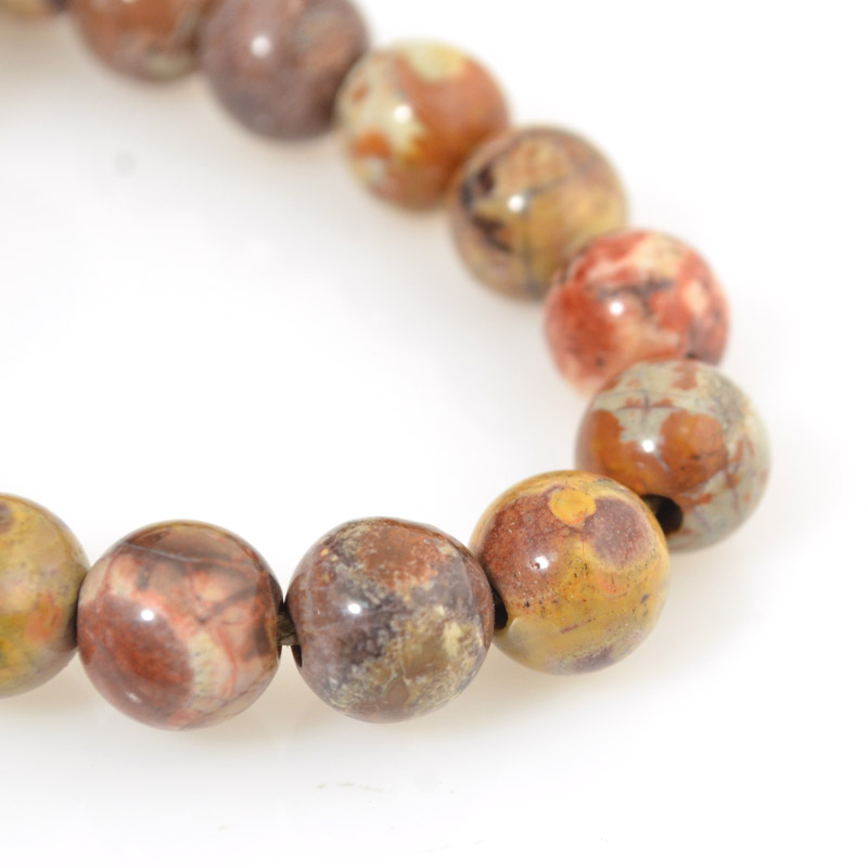 s54253 Stone Beads - 10 mm Big Hole Round - Birdseye Rhyolite (strand)