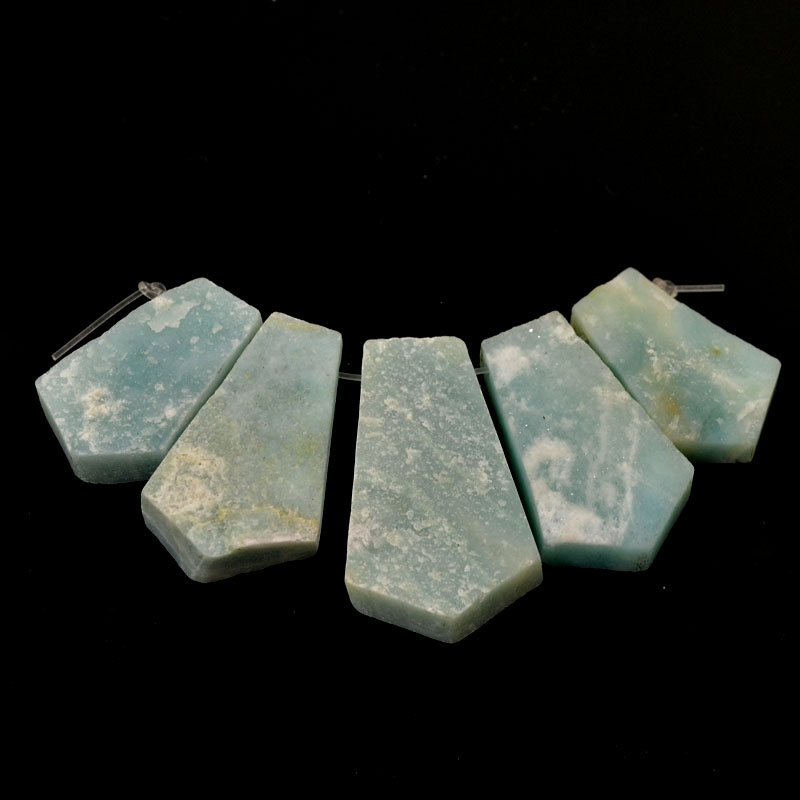 s54257 Stone Pendant - Pointed Fan Pendant Set - Amazonite