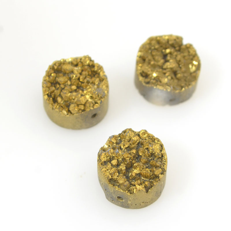 s54259 Stone Beads - Round Coin - Antique Gold Druzy