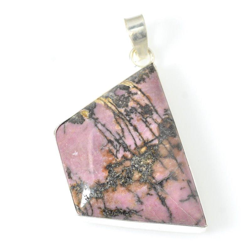 s54566 Stone Pendant - Trapezoid - Rhodonite