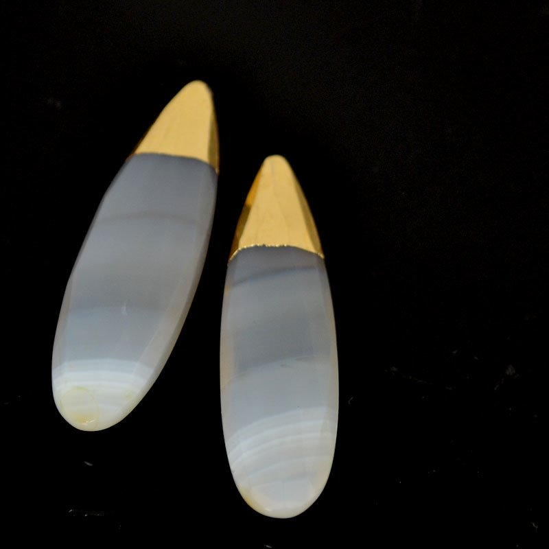 s54582 Stone Pendant - Faceted Drop (with Cap) - Banded Agate
