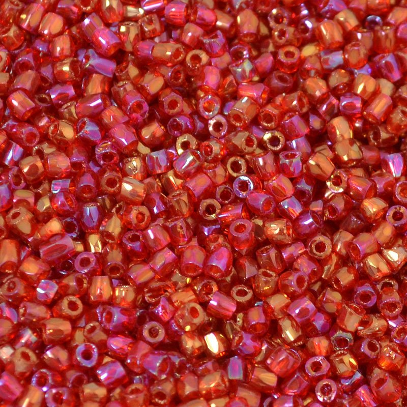 s54637 Czech Seedbeads - 9/0 3-Cut Rocailles - Ruby Gold Rainbow (tube)