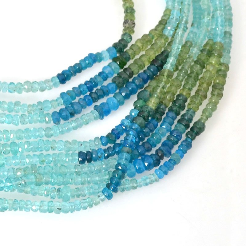 s54653 Stone Beads - Faceted Rondelle Donuts - Shades of Aqua and Olivine - Coloured Quartz (strand)