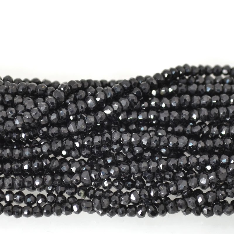 s54654 Stone Beads - 3 mm Faceted Rondelle Donuts - Black Spinel (strand)