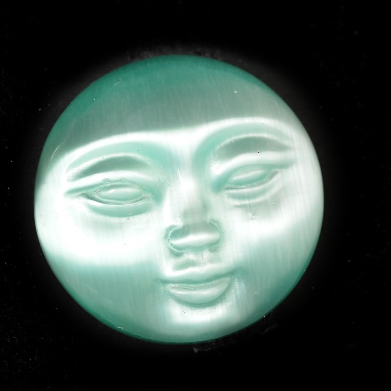 s54890 Stone - 25 mm Round Face Cabochon - Green Fibreoptic