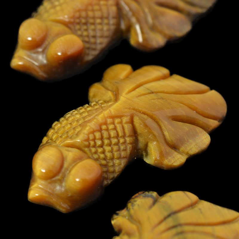 s54891 Stone - Carved Fish - TigerEye