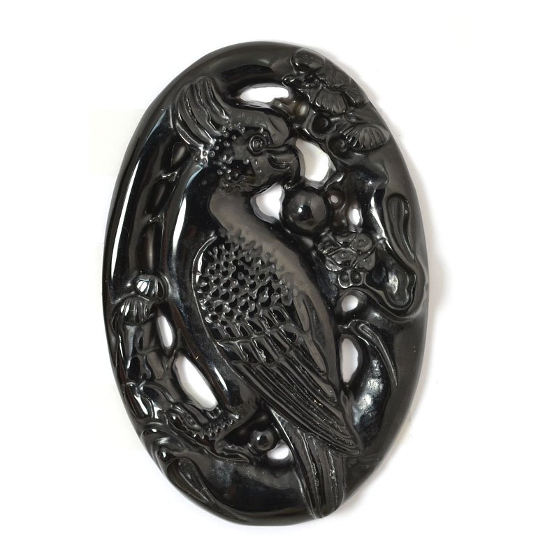 s54893 Stone - Carved Parrot Cabochon - Black Agate
