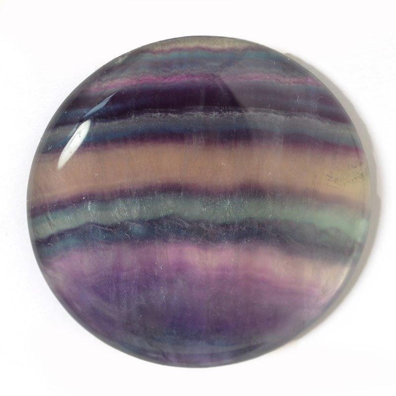 s54904 Stone - Round Cabochon OOAK - Rainbow Fluorite