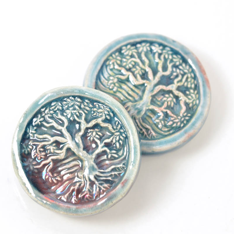 s54927 Ceramic Bead - Tree of Life - Raku