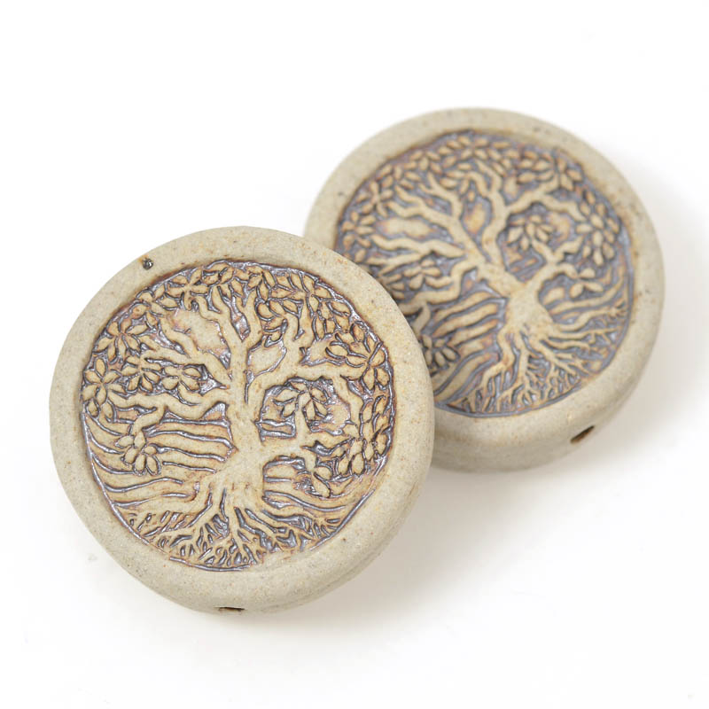 s54929 Ceramic Bead - Tree of Life - Unglazed Antiqued Bisque