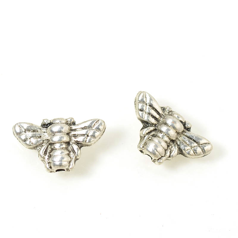 s54932 Metal Bead - Ambuguous Bee - Antiqued Silver