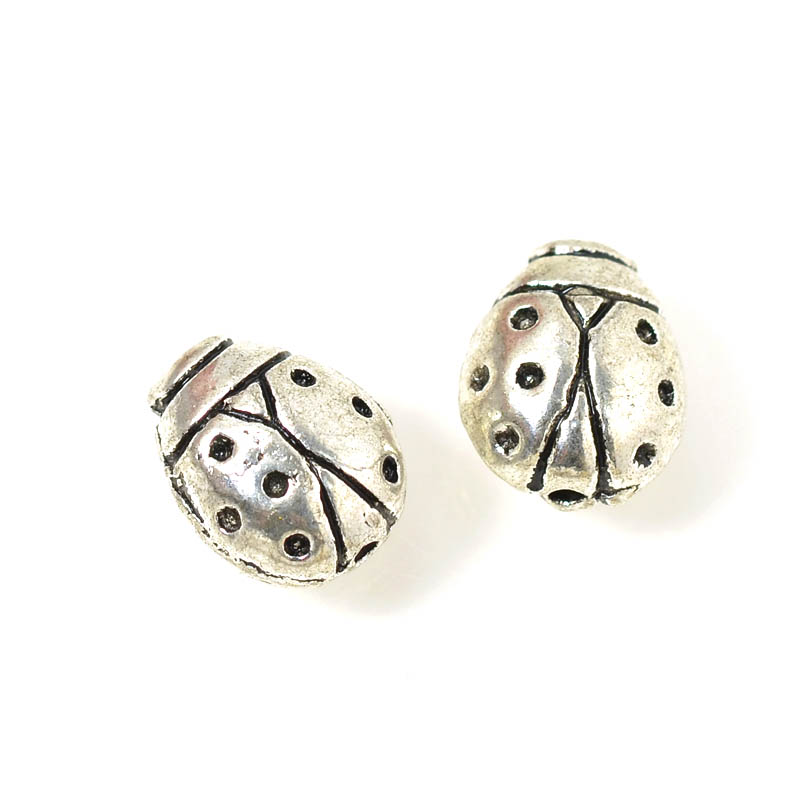 s54933 Metal Bead - Lady Bug - Antiqued Silver