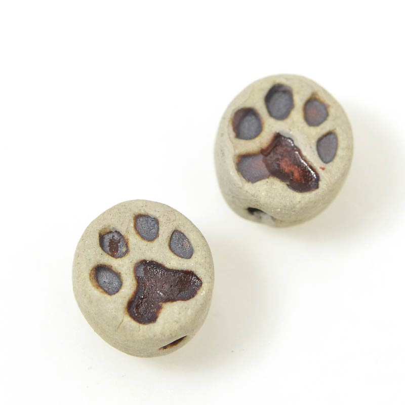 s54935 Ceramic Bead - Tiny Tiny Dog Paw - Unglazed Antiqued Bisque (4)
