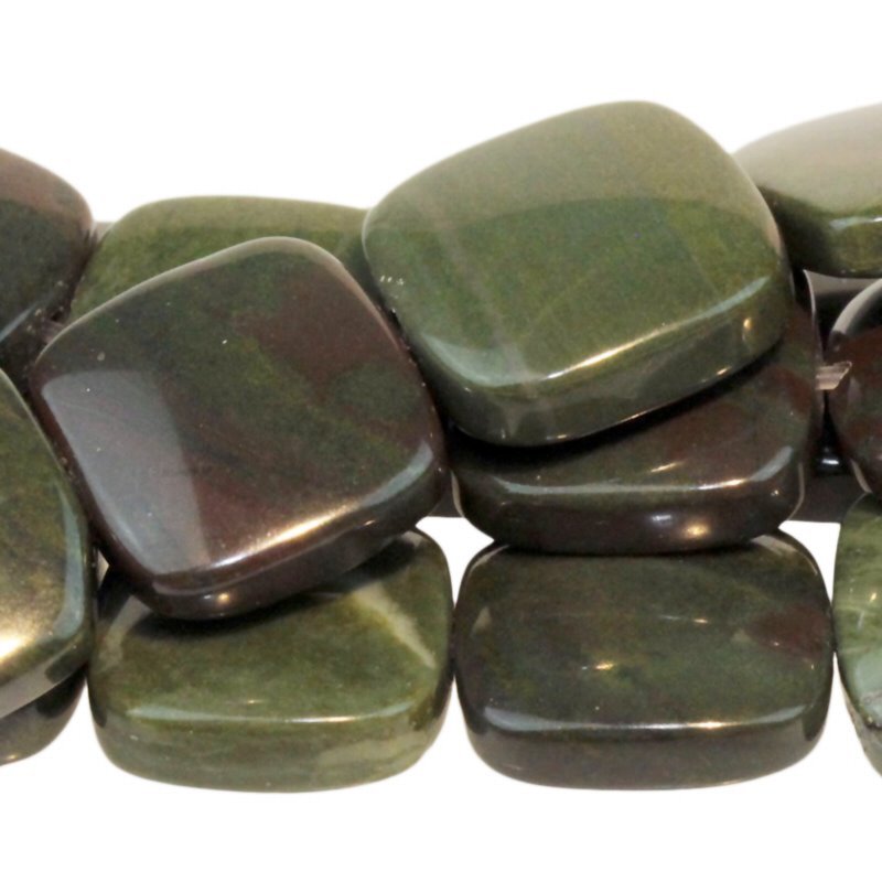 s54943 Stone Beads - 12 mm Square - African Green Jasper (strand)